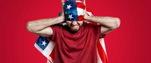 angry person with American flag